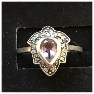 Amethyst & Marcasite Sterling Silver Ring Size